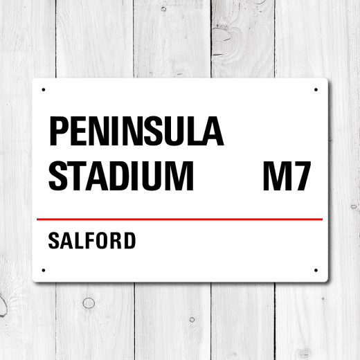 Peninsula Stadium, Salford Metal Sign