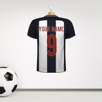 Personalised Black & White Wide Stripe Football Shirt Wall Sticker With Your Name & Number