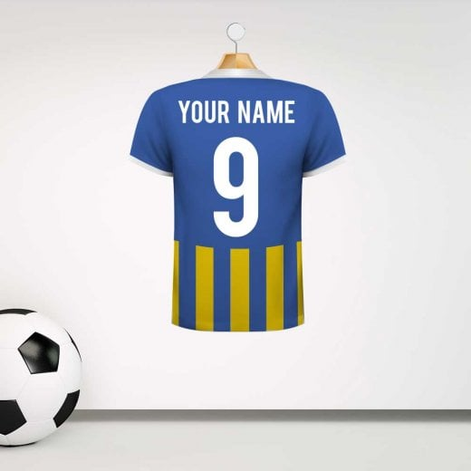 Personalised Blue & Amber Football Shirt Wall Sticker With Your Name & Number