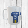 Personalised Blue & Amber Football Shirts Mug With Your Name & Number