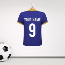 Personalised Blue & Amber Trim Football Shirt Wall Sticker With Your Name & Number