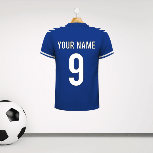 Personalised Blue and White Football Shirt Wall Sticker With Your Name & Number