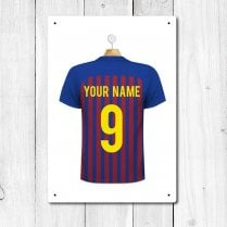 Personalised Blue & Claret Football Shirt Metal Sign With Your Name & Number