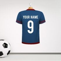 Personalised Blue & Claret Football Shirt Wall Sticker With Your Name & Number