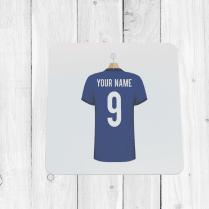 Personalised Blue Football Shirt Coaster