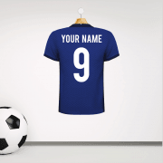 Personalised Blue Football Shirt Wall Sticker With Your Name & Number
