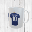 Personalised Blue Football Shirts Mug With Your Name & Number