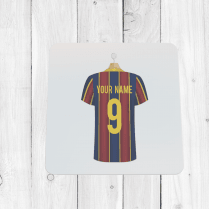 Personalised Blue & Garnet Football Shirt Coaster