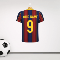 Personalised Blue & Garnet Football Shirt Wall Sticker With Your Name & Number