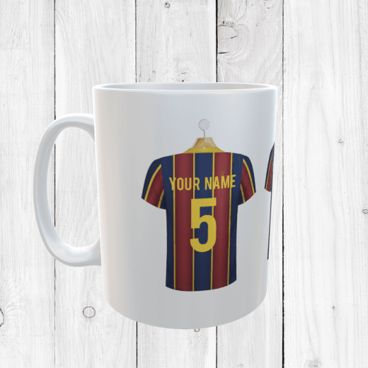 Personalised Blue & Garnet Football Shirts Mug With Your Name & Number