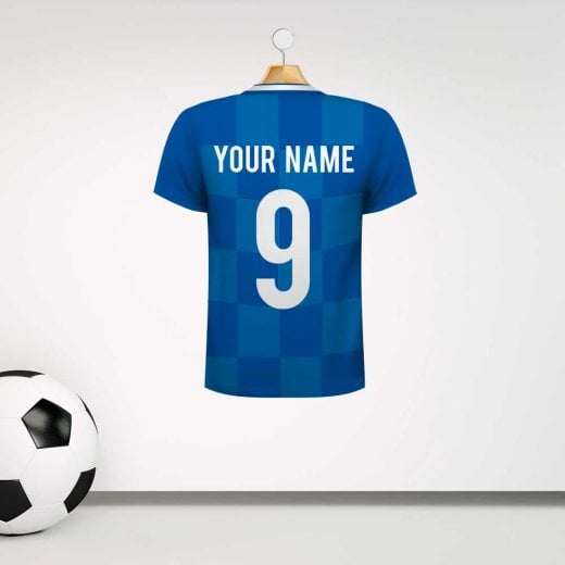 Personalised Blue & Light Blue Chequered Football Shirt Wall Sticker With Your Name & Number
