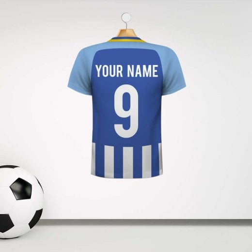 Personalised Blue & Light Blue Panel & Striped Football Shirt Wall Sticker With Your Name & Number