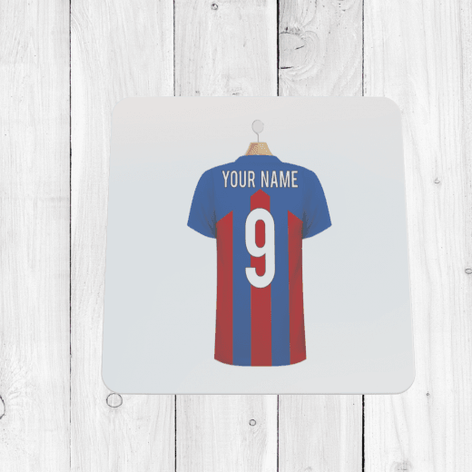 Personalised Blue & Red Football Shirt Coaster