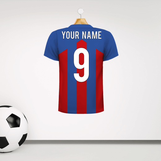 Personalised Blue & Red Football Shirt Wall Sticker With Your Name & Number