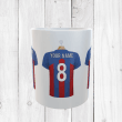 Personalised Blue & Red Football Shirts Mug With Your Name & Number