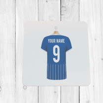 Personalised Blue & White Football Shirt Coaster