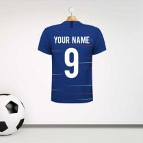 Personalised Blue & White Football Shirt Wall Sticker With Your Name & Number