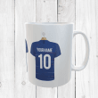 Personalised Blue & White Football Shirts Mug With Your Name & Number