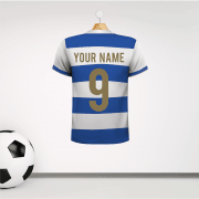 Personalised Blue & White Hoops Football Shirt Wall Sticker With Your Name & Number