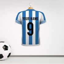 Personalised Blue & White Striped Football Shirt Wall Sticker With Your Name & Number