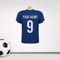 Personalised Blue With White Detail Football Shirt Wall Sticker With Your Name & Number