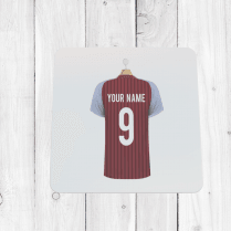 Personalised Claret & Blue Football Shirt Coaster