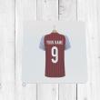 Personalised Claret & Blue Football Shirt Coaster