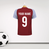 Personalised Claret & Blue Football Shirt Wall Sticker With Your Name & Number