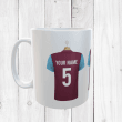 Personalised Claret & Blue Football Shirts Mug With Your Name & Number