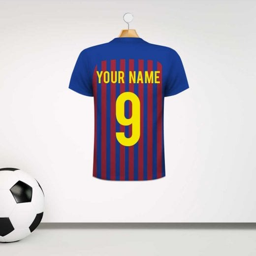 Personalised Claret & Blue Striped Football Shirt Wall Sticker With Your Name & Number