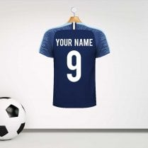 Personalised Dark Blue & Blue Football Shirt Wall Sticker With Your Name & Number