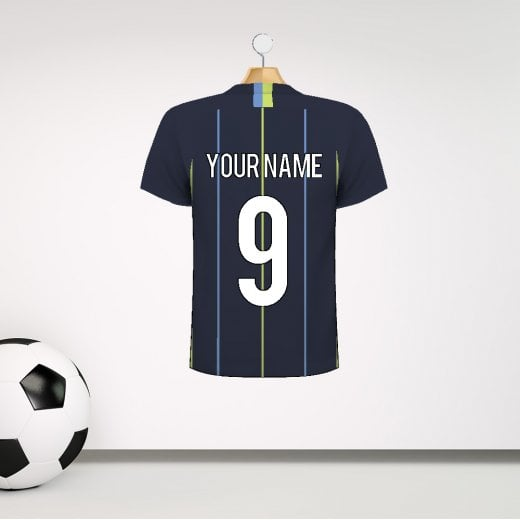 Personalised Dark Blue, Blue & Green Striped Football Shirt Wall Sticker With Your Name & Number