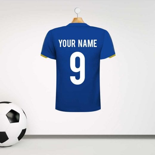 Personalised Dark Blue Football Shirt Wall Sticker With Your Name & Number