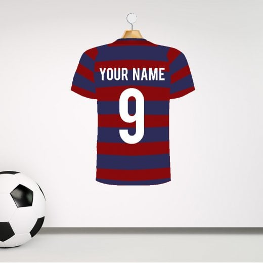 Personalised Dark Red & Blue Hoops Football Shirt Wall Sticker With Your Name & Number