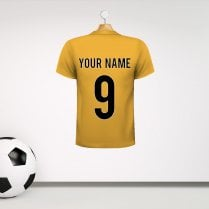 Personalised Deep Yellow Football Shirt Wall Sticker With Your Name & Number