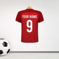 Personalised England Red Football Shirt Wall Sticker With Your Name & Number