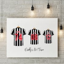 Personalised Family Team Black & White Striped Football Shirt Canvas