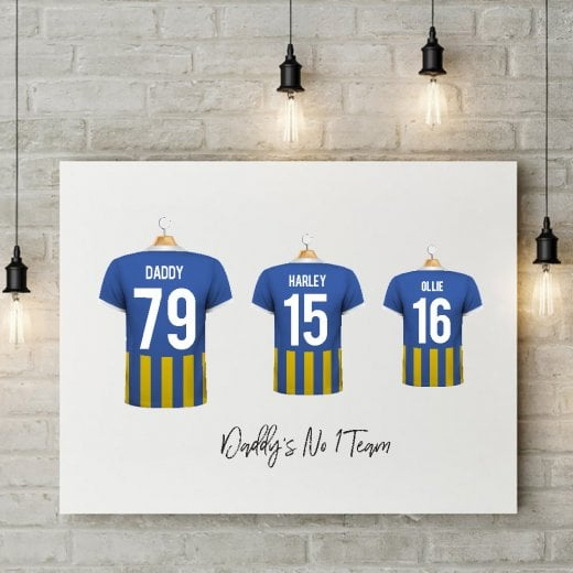 Personalised Family Team Blue & Amber Football Shirt Canvas