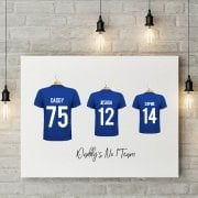 Personalised Family Team Blue Football Shirt Canvas