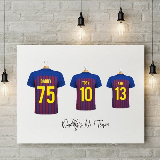 Personalised Family Team Claret & Blue Striped Football Shirt Canvas