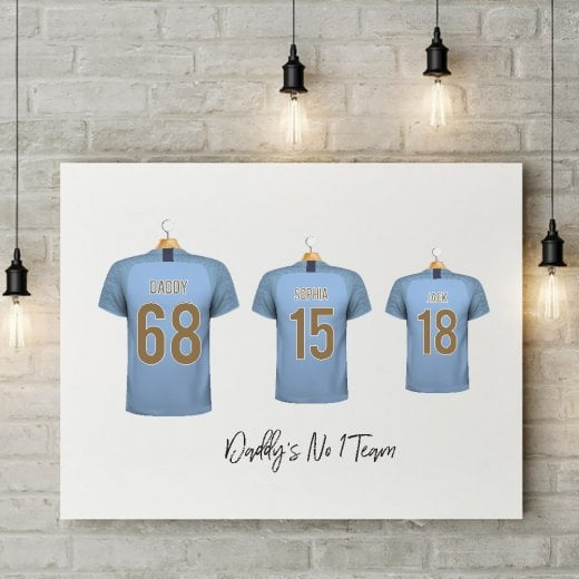 Personalised Family Team Light Blue Football Shirt Canvas