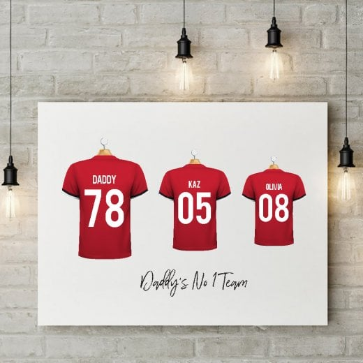 Personalised Family Team Red Football Shirt Canvas