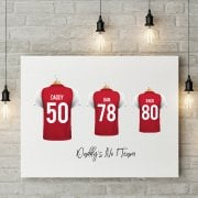 Personalised Family Team Red & White Football Shirt Canvas