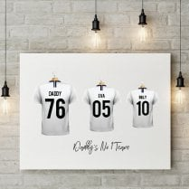 Personalised Family Team White Football Shirt Canvas
