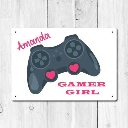 Personalised 'Gamer Girl' Metal Sign