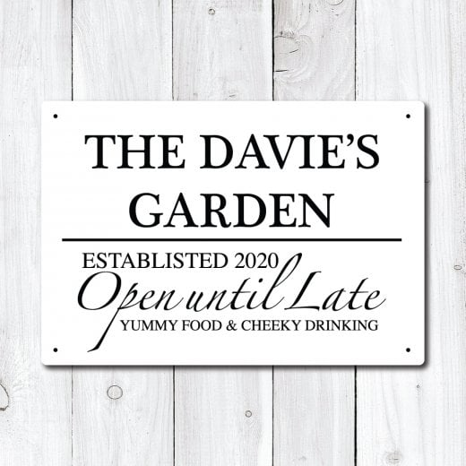 Personalised 'Garden' Metal Sign