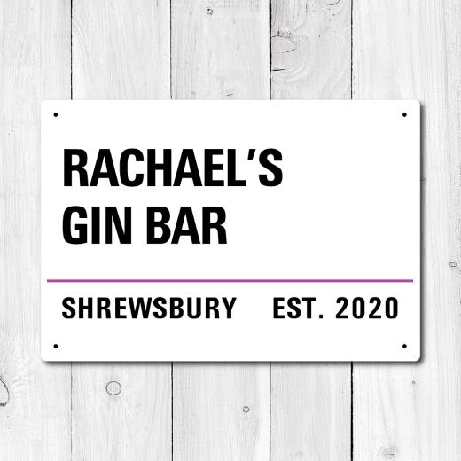Personalised 'Gin Bar' Metal Sign