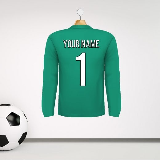 Personalised Green Goalkeeper Football Shirt Wall Sticker With Your Name & Number