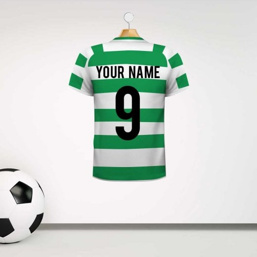 Personalised Green & White Striped Football Shirt Wall Sticker With Your Name & Number