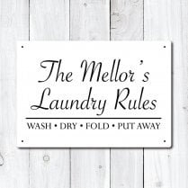 Personalised 'Laundry Rules' Metal Sign